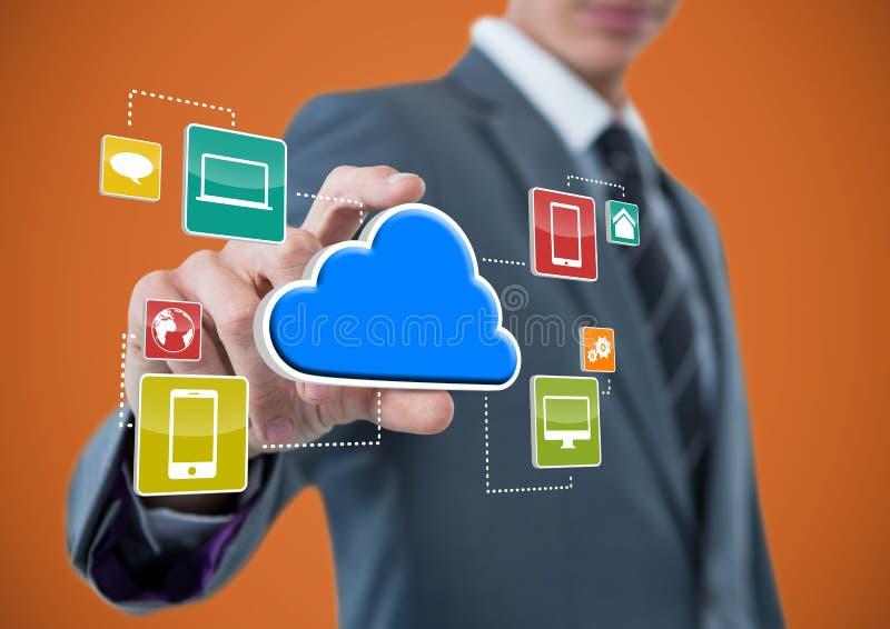 zakenman met hand van het nemen van wolk met toepassingspictogrammen dat wordt uitgespreid Oranje Achtergrond stock afbeeldingen