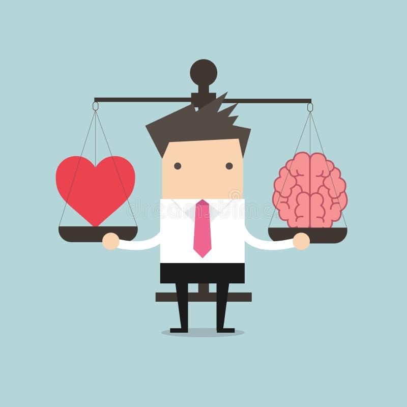 Zakenman met Hart en hersenen op schalen royalty-vrije illustratie