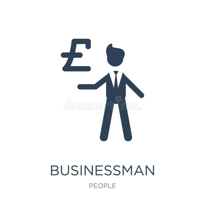 zakenman met het pictogram van de pondmunt in in ontwerpstijl zakenman met het pictogram van de pondmunt op witte achtergrond wor stock illustratie