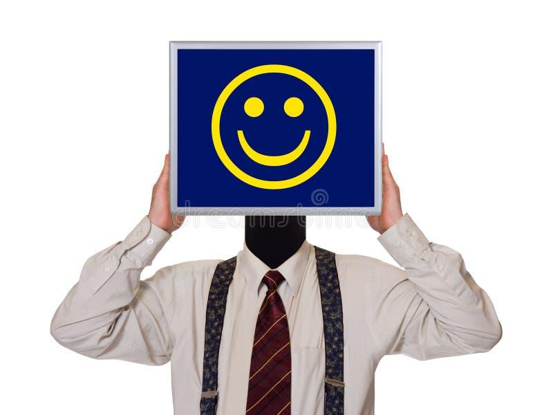 Zakenman met het scherm van de glimlachcomputer stock foto's