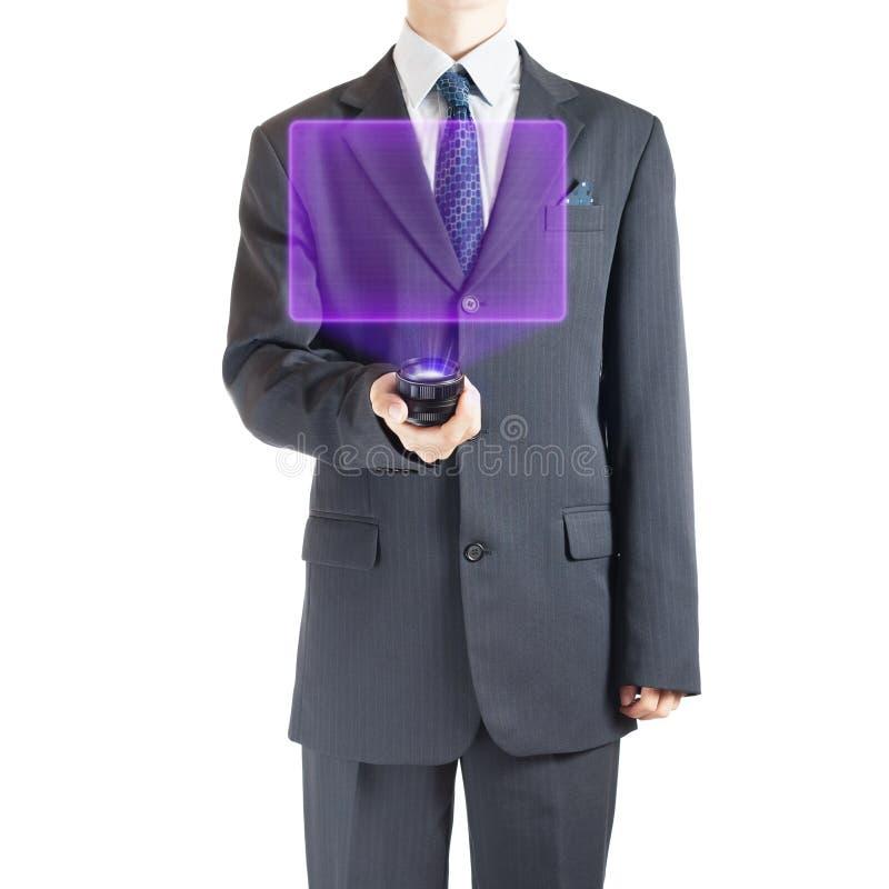 Zakenman met holografische projector stock fotografie
