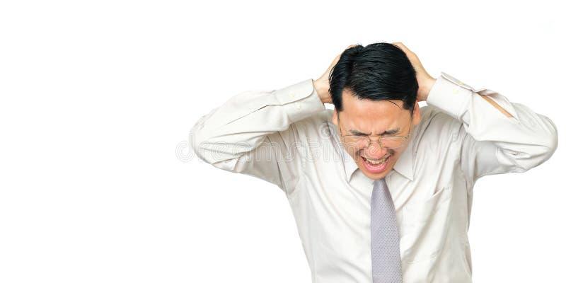 Zakenman met hoofdpijn, op witte achtergrond stock afbeeldingen