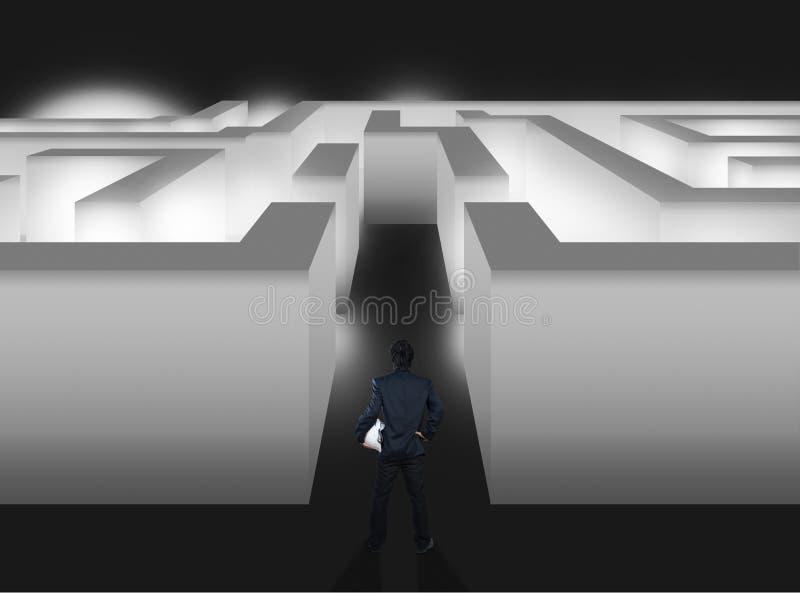 Zakenman met labyrint, bedrijfsconcept stock foto's