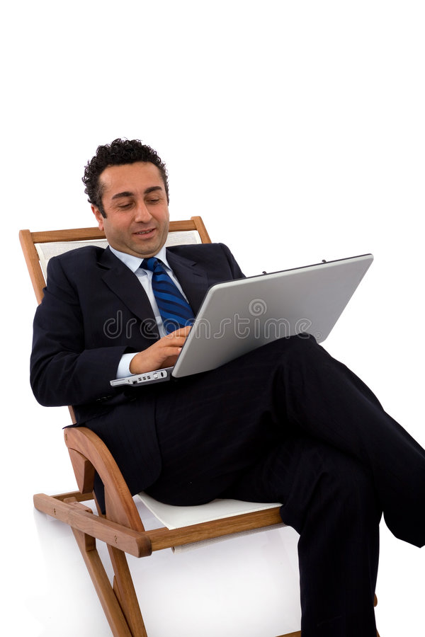 Zakenman met laptop stock afbeeldingen