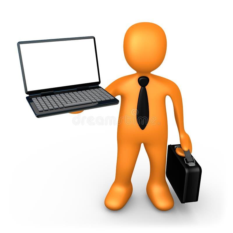 Zakenman met Laptop royalty-vrije illustratie
