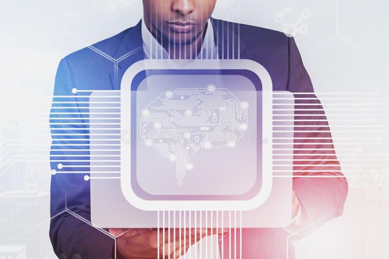 Zakenman met laptop, AI concept stock afbeeldingen