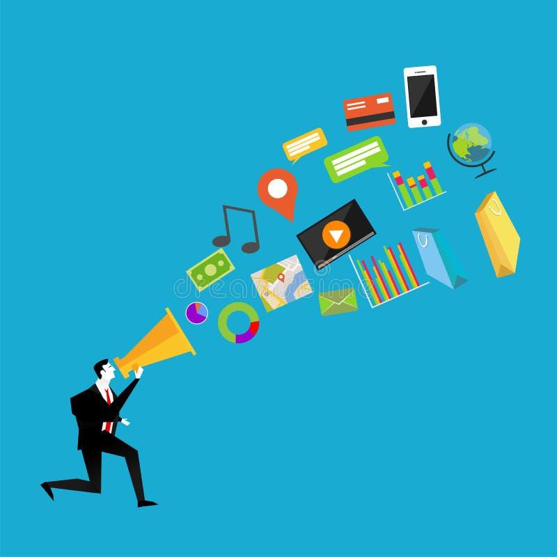 Zakenman met megafoon Digitaal marketing concept Bedrijfs Marketing vector illustratie