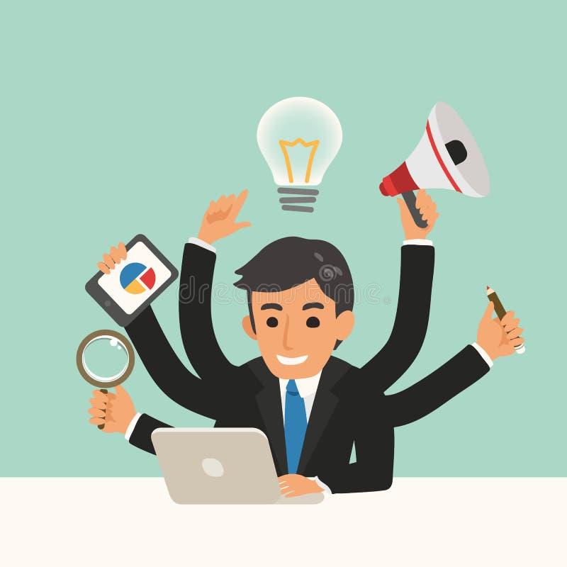 Zakenman met multitasking illustratie van het vaardighedenbeeldverhaal stock illustratie