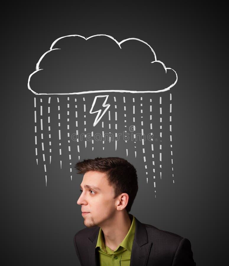 Zakenman met onweerswolk boven zijn hoofd royalty-vrije stock foto's