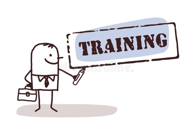 Zakenman met opleidingsteken stock illustratie