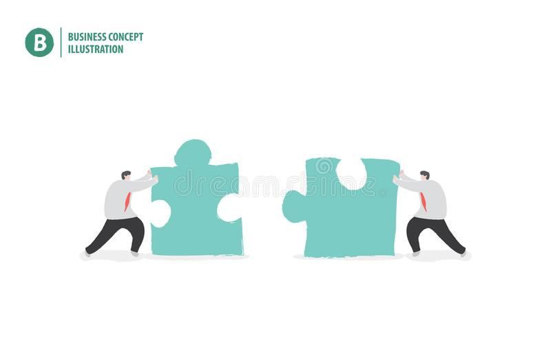 Zakenman met puzzel die samenwerking of groepswerk betekenen stock illustratie