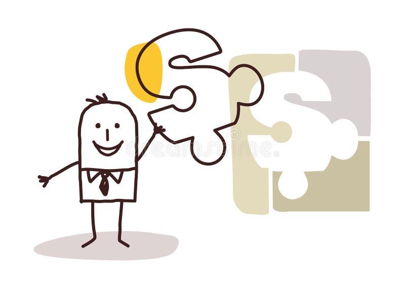 Zakenman met raadsel & Oplossing stock illustratie