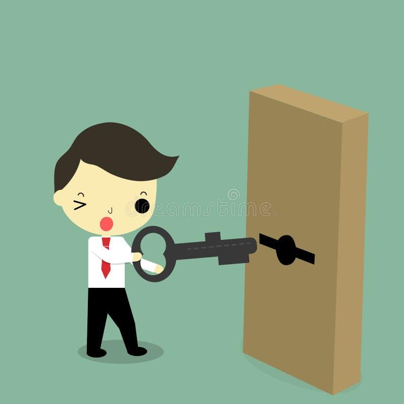 Zakenman met sleutel en deur stock illustratie