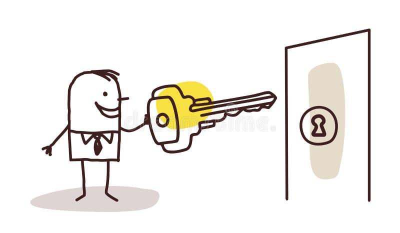 Zakenman met sleutel en deur royalty-vrije illustratie