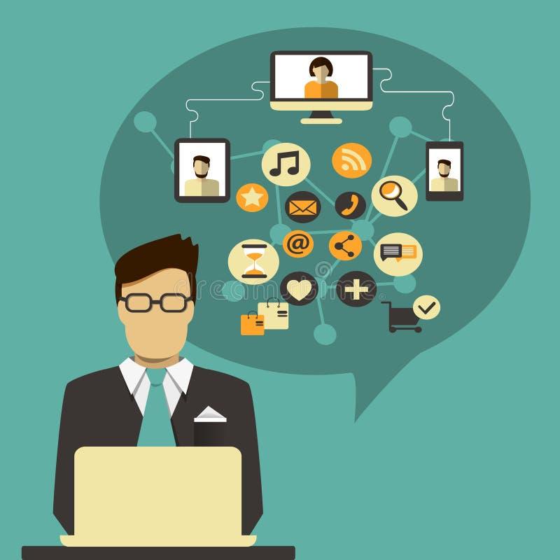 Zakenman met toespraakbel en sociaal media pictogram vector illustratie