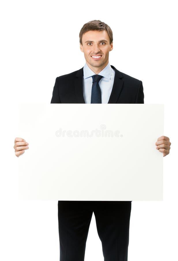 Zakenman met uithangbord, op wit stock fotografie