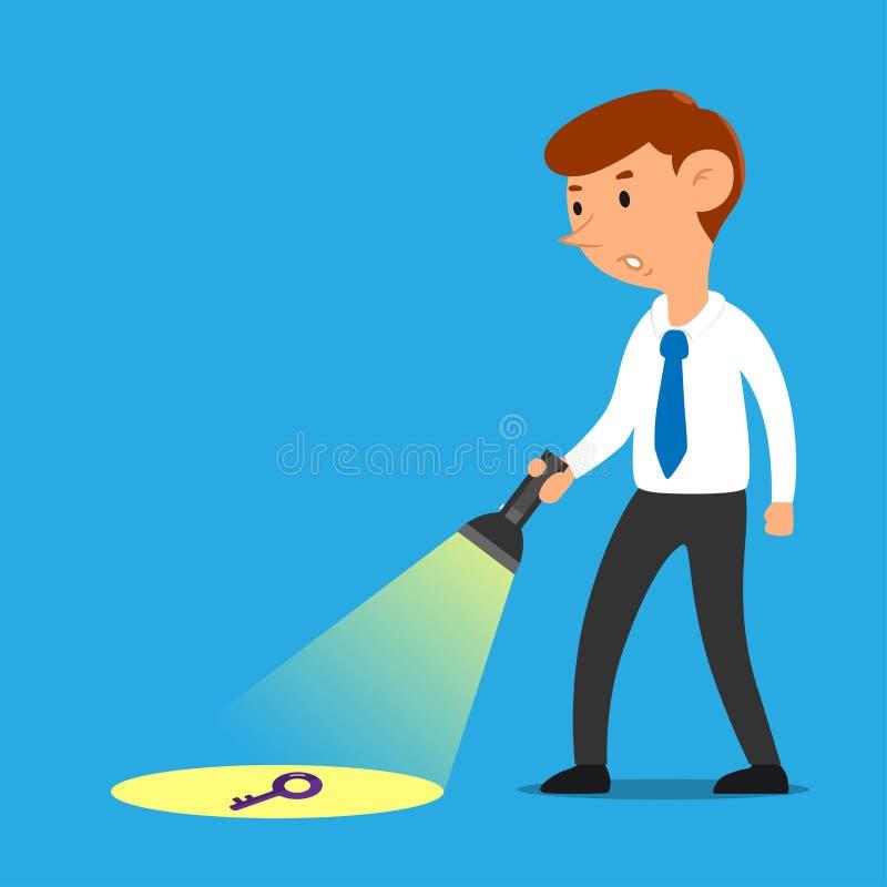Zakenman met vectorbeeldverhaal flitslicht van het bedrijfs het zeer belangrijke oplossingsconcept stock illustratie