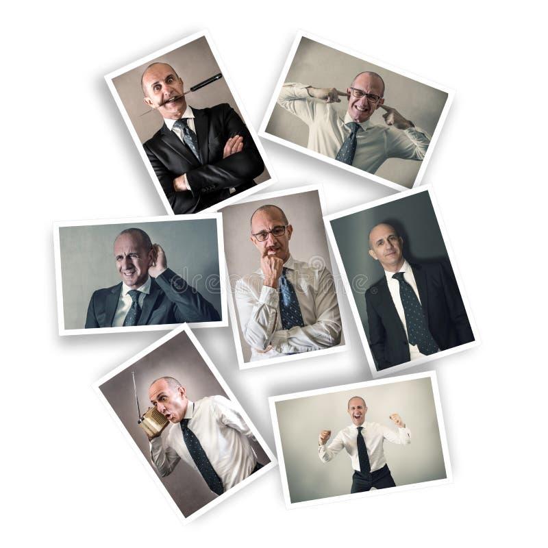 Zakenman met veelvoudige uitdrukkingen royalty-vrije stock afbeeldingen
