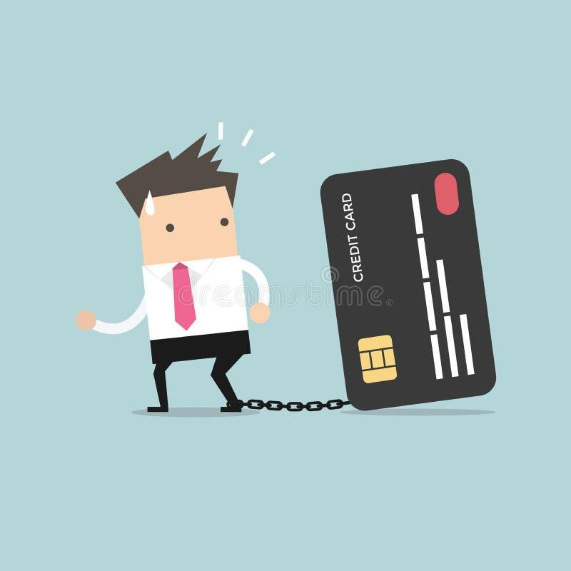Zakenman met voet die aan bankcreditcard wordt geketend die proberen te ontsnappen stock illustratie