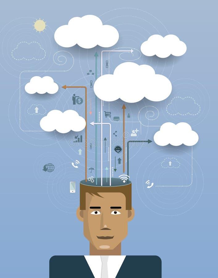 Zakenman met wolk de informatieruimte van het gegevensverwerkingsnetwerk royalty-vrije illustratie