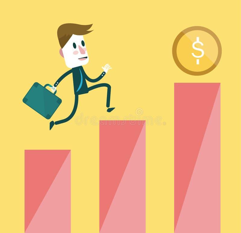 Zakenman na een muntstuk tot de bovenkant van de de groeigrafiek van winsten vector illustratie