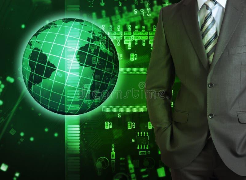 Zakenman op abstracte groene achtergrond royalty-vrije stock afbeelding