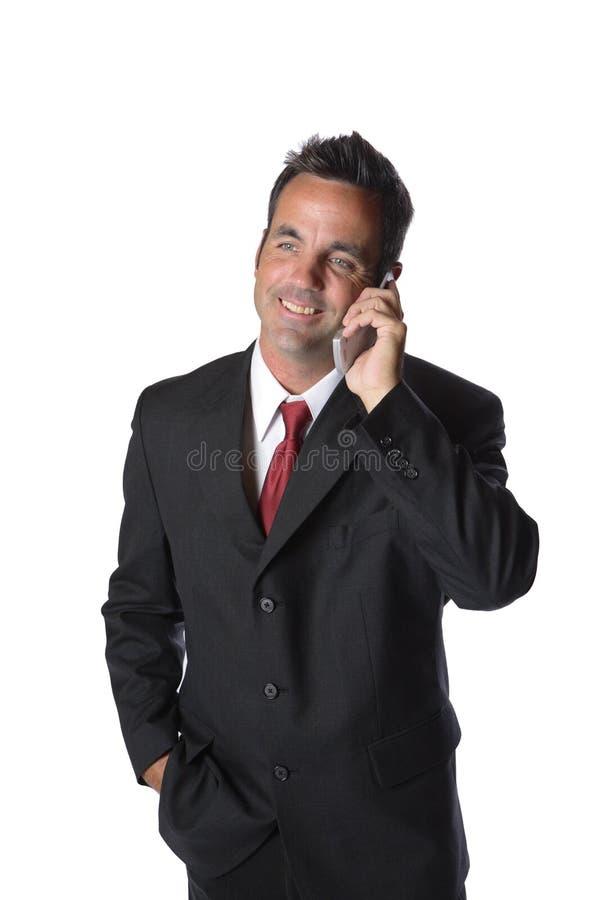 Zakenman op celtelefoon royalty-vrije stock fotografie