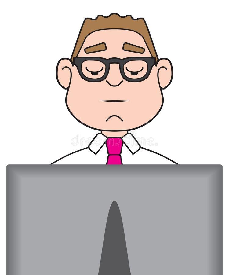 Zakenman op computer royalty-vrije illustratie