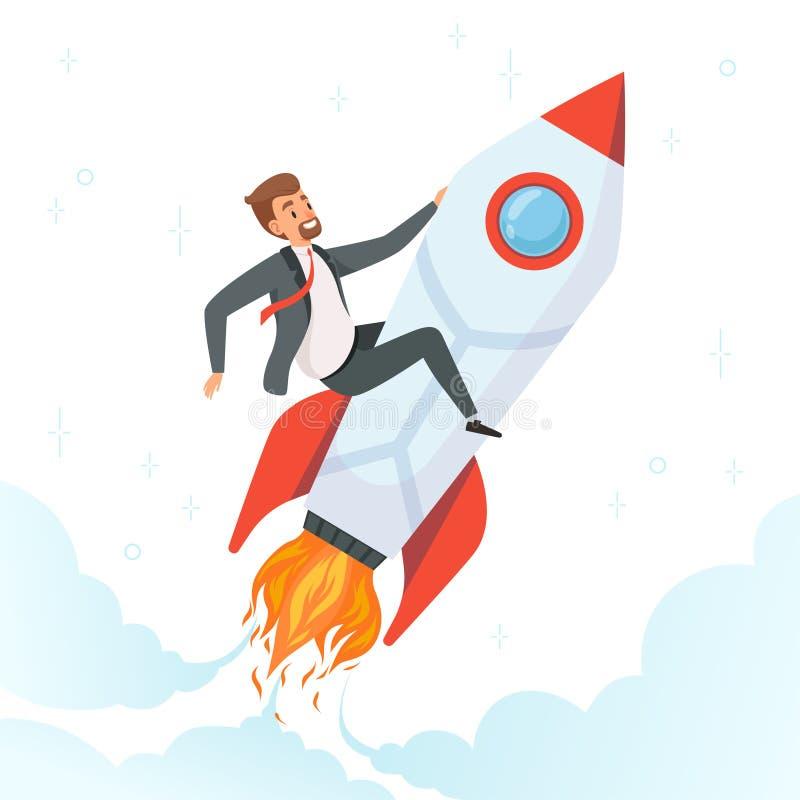 Zakenman op raket Concept lancerings start nieuw project van de mensen van de droomvlieg op de vector pendel van het bedrijfsprod vector illustratie