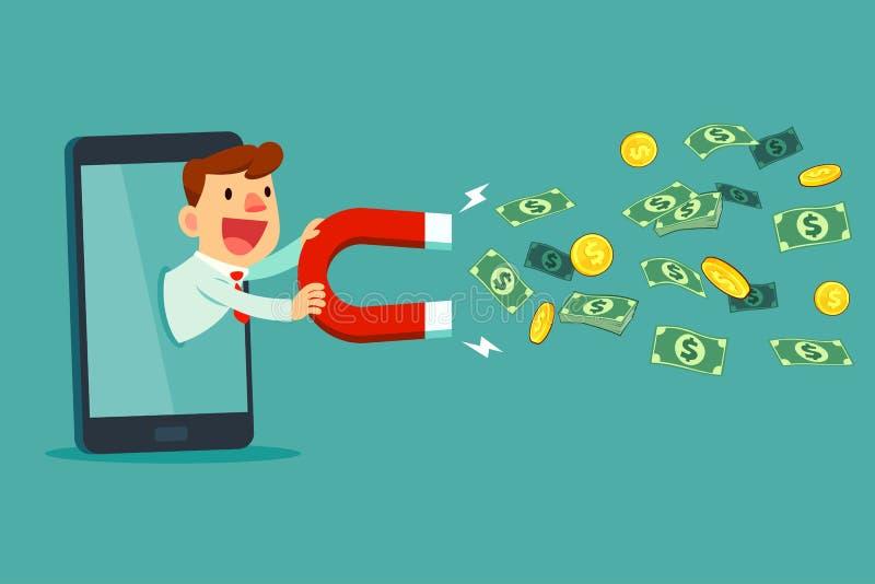 Zakenman op slimme het gebruiksmagneet van het telefoonscherm om geld aan te trekken stock illustratie