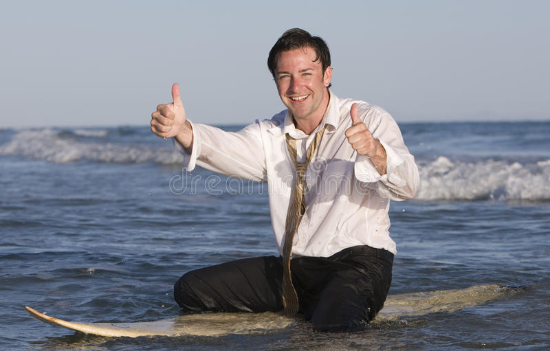 Zakenman op Surfplank royalty-vrije stock afbeeldingen