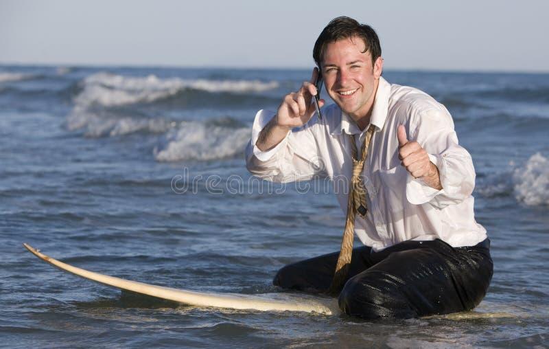 Zakenman op Surfplank royalty-vrije stock foto