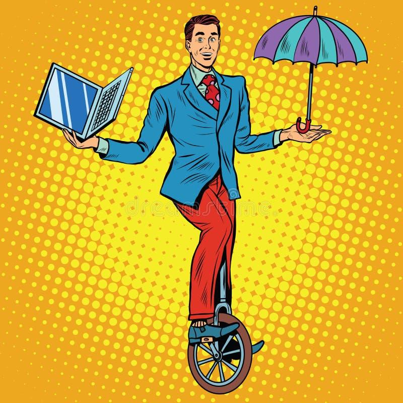 Zakenman op unicycle bedrijfssaldo stock illustratie