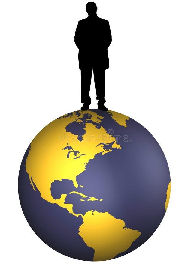 Zakenman op wereld vector illustratie