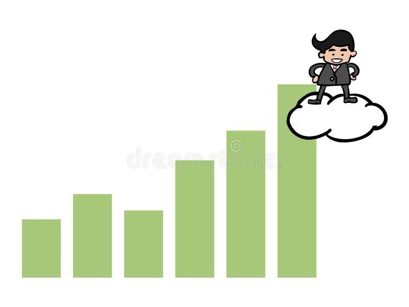 Zakenman op wolk over grafiek royalty-vrije illustratie