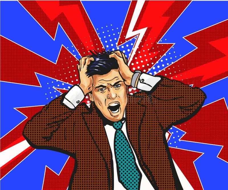 Zakenman in paniek, greep op hoofd emoties vector illustratie