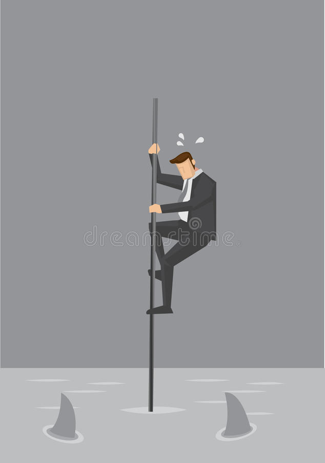 Zakenman in Precaire Positie Vectorillustratie vector illustratie