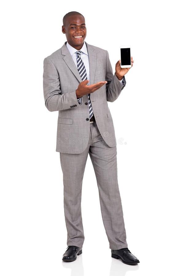 Zakenman Presenting Smart Phone royalty-vrije stock foto