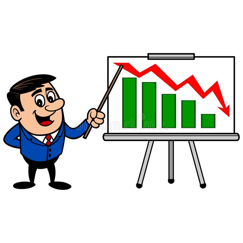 Zakenman Profit Loss Presentation stock illustratie