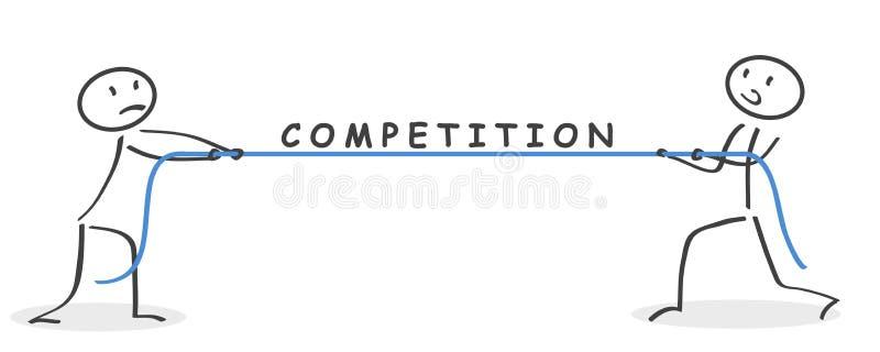 zakenman Pull de kabel De concurrentie van de bedrijfsmensentouwtrekwedstrijd - vector vector illustratie