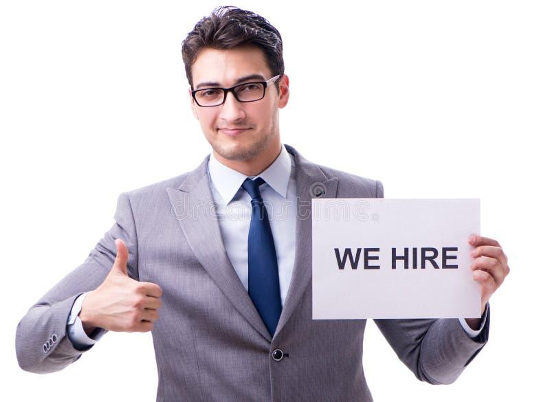Zakenman in rekruteringsconcept op witte achtergrond wordt ge?soleerd die royalty-vrije stock foto