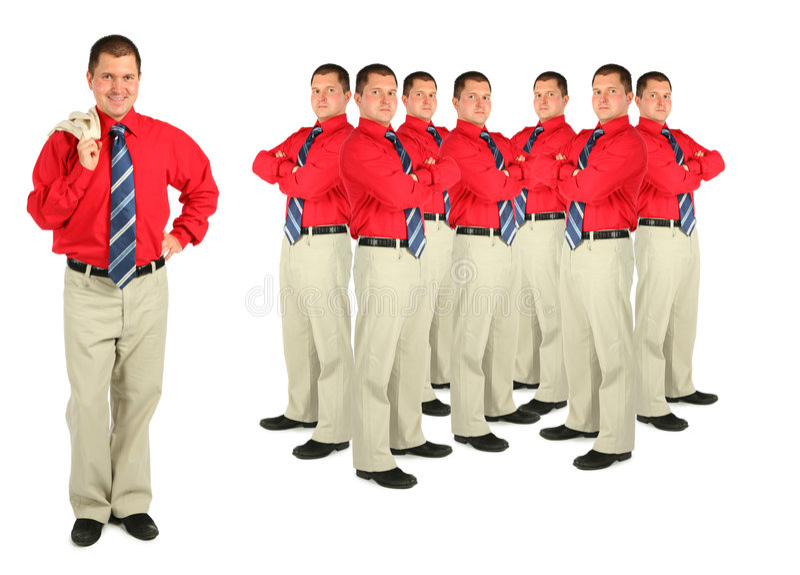 Zakenman in rode overhemd en menigtecollage royalty-vrije stock fotografie
