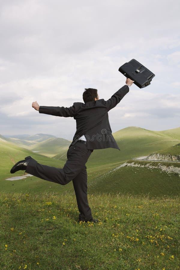 Zakenman Running With Briefcase op Gebied stock afbeelding