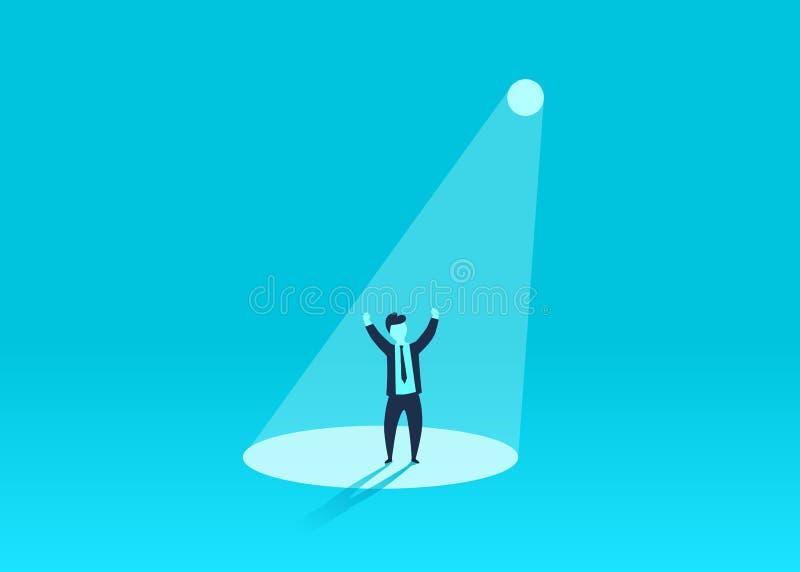 Zakenman in schijnwerper Menselijke middelrekrutering Persoonssucces, werknemer en carrière royalty-vrije illustratie