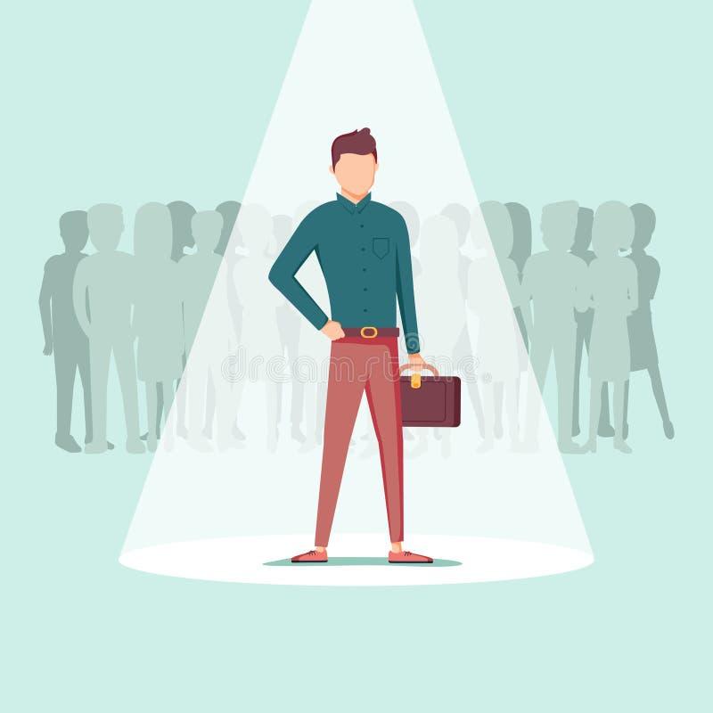 Zakenman in schijnwerper op achtergrond wordt geïsoleerd die Leerplan, rekrutering, u, het concept van het personeelsbeheer royalty-vrije illustratie