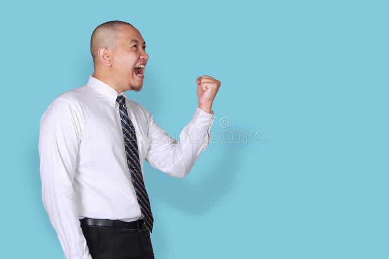 Zakenman Shows Winning Gesture, Zijaanzichtprofiel stock foto's
