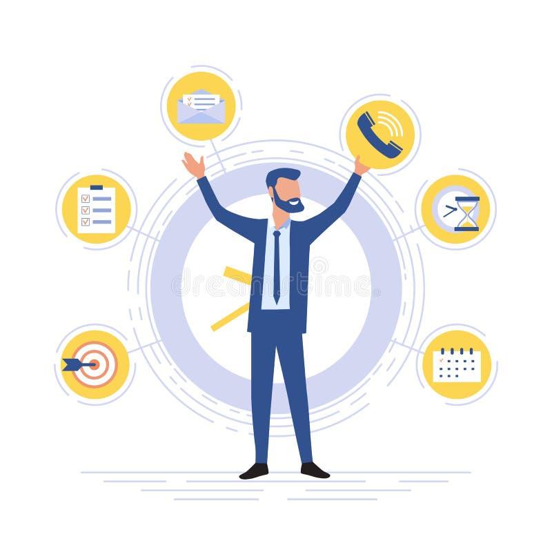 Zakenman staat op de achtergrond van kantoorpictogrammen Multitasking en het concept van tijdbeheer Effectief beheer stock illustratie