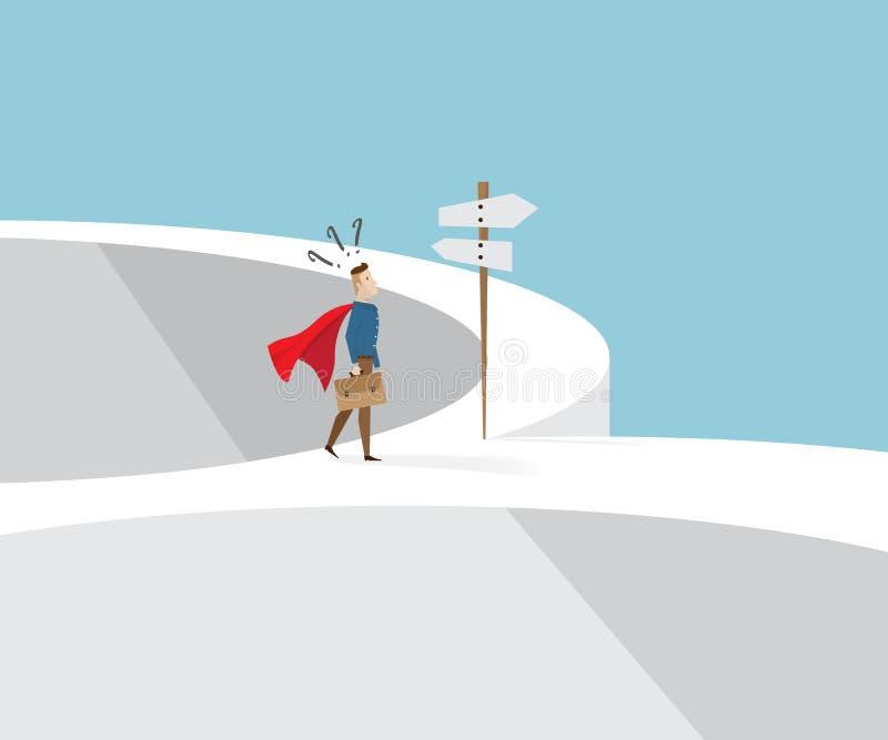 Zakenman status verward bij dwarswegen vector illustratie