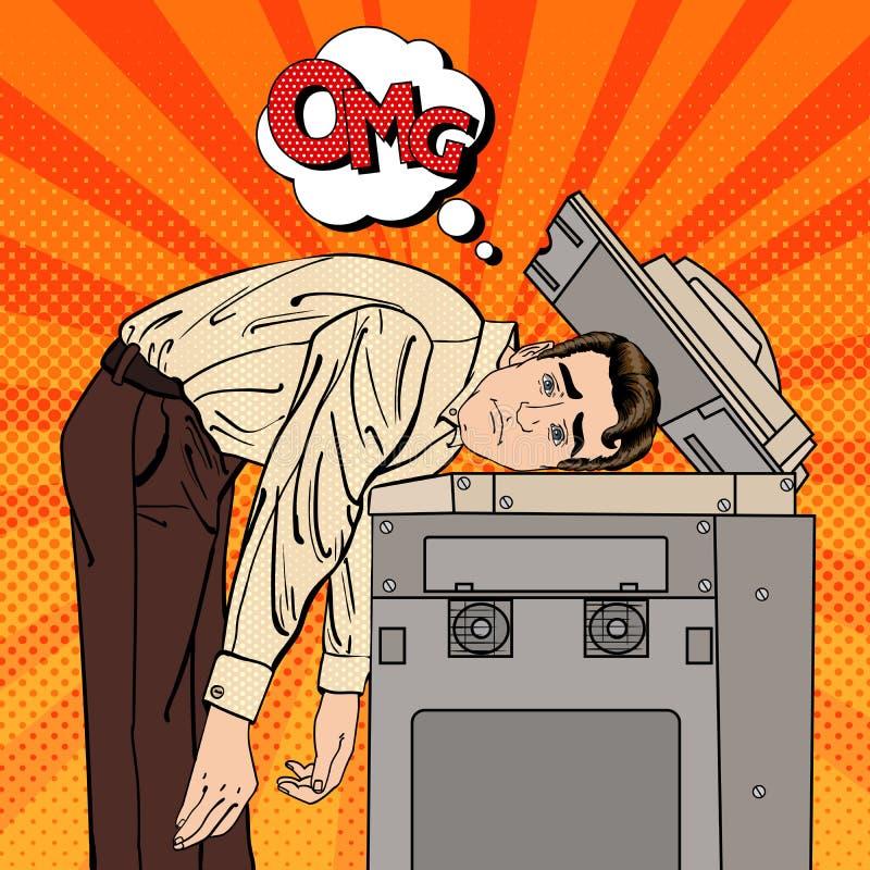 Zakenman Stressed in Bureau Spanning op het werk Pop-art vector illustratie