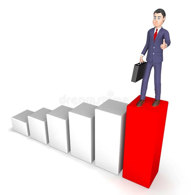 Zakenman Succesvol Character Means Success en Vooruitgang het 3d Teruggeven stock illustratie
